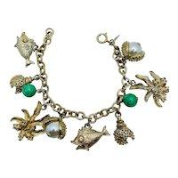 Sarah Cov Vintage 1960 Charm Bracelet Marine Shells