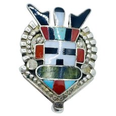 Vintage Native American Chief Ring Zuni Signed Inlay