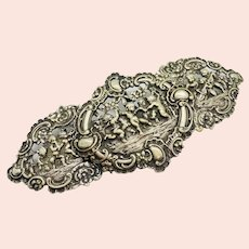Victorian Antique Silver Belt Buckle Cherubs