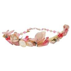 Rare Vintage Venetian Italian Glass Pink Dove Necklace