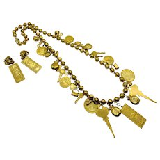 Rare Vintage Miriam Haskell Money Necklace with Earrings