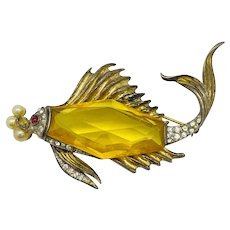 Alfred Philippe Crown Trifari Sterling Silver Fish Jelly Belly Brooch