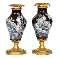 A Pair of French Bronze-Mounted Limoges Enamel Vases