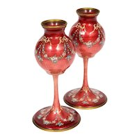 A Pair of French Red Guilloche Enamel Vases with Flowers