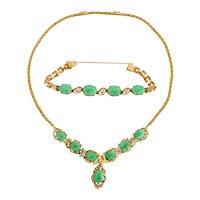 18-Karat Gold, Diamonds, and Chinese Jade Necklace and Bracelet Set