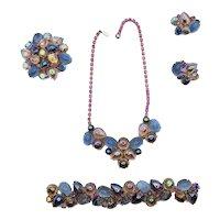 Vintage Jelly Belly Costume Jewelry Necklace Bracelet Earring Set