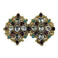 Antique Victorian Gemstone Garnet Sapphire 18k Gold Brooch