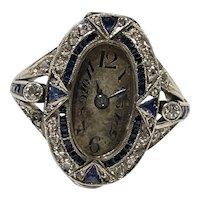 Art Deco Platinum Diamond and Sapphire Notserp Watch Co Watch Ring
