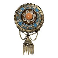 Etruscan Victorian 18K Gold Enamel Turquoise Coral Pin