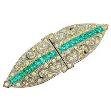 French Art Deco Rhinestone Glass Belt Buckle