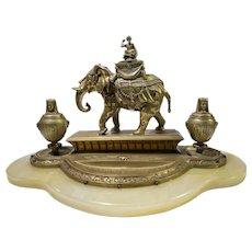 Antique Bronze Egyptian Themed Elephant Inkwell Onyx Base