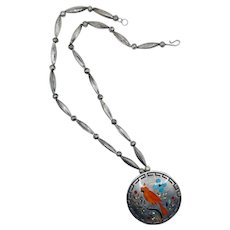 Vintage Sterling Silver Coral and Turquoise Inlay Dennis & Nancy Edaakie Zuni Bird Necklace