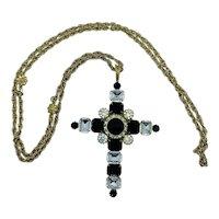 Vintage Costume Jewelry Rhinestone Cross Necklace