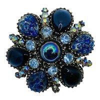 Vintage Costume Jewelry JELLY BELLY  Rhinestone Brooch Pin Blue