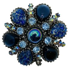 Vintage Costume Jewelry JELLY BELLY  Rhinestone Brooch Pin Blue