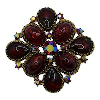 Vintage Costume Jewelry Rhinestone JELLY BELLY Brooch Red