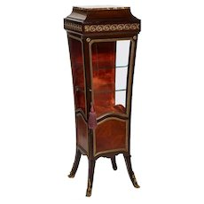 French Louis XV Style Gilt Mounted Kingwood Pedestal Vitrine Cabinet, circa 1880