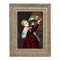 Antique French Maroon Limoges Enamel Porcelain Plaque Woman With Fruits, Titian