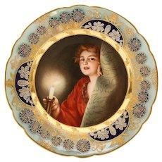 Antique Art Nouveau Royal Vienna Porcelain Plate by Wagner
