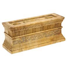 Italian Neoclassical Grand Tour Sienna Marble Tomb of Scipios Inkwell