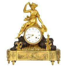 French Empire Ormolu and Patinated Bronze Clock with Huntress Diana, circa 1805