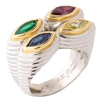 Rare Bulgari Platinum, Gold, Mulit-Gem and Yellow Diamond Ring