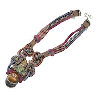 Alex and Lee Love and Peace 1970's Ceremonial Knot Multicolor Scarab Necklace
