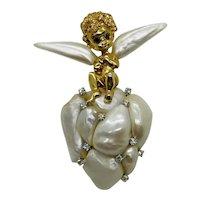 William Ruser 14K Gold Cupid Cherub Angel Brooch Set With Pearls