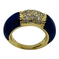 "Vintage Van Cleef & Arpels 18k Gold Diamond and Lapis ""Philippines"" Ring"