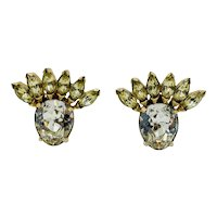 Vintage White and Yellow Large Rhinestone Eisenberg Clip Earrings