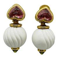 18k Gold, Peridot, Tourmaline and Porcelain 'CHANDRA' Earrings, BY BULGARI
