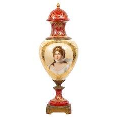 Royal Vienna Double Portrait Porcelain Vase, 19th Century