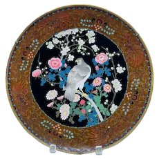 Meiji Period Rare Japanese Cloisonne Enamel Charger Plate with Falcon