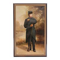 1916 Portrait of a Belgian Soldier with Rifle , Signed
