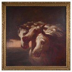 Antique Oil On Canvas, 3 White Horses,  After Rosa Bonheur