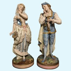 """French Bisque Man & Woman Beautiful Antique Figurines 1800s Large 17"""" Fine&Rare"""