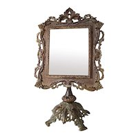 Antique Victorian Cast Brass Frame Standing Vanity Table Top Beveled Mirror 19""