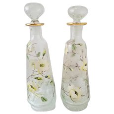 Pair Clear Crackle Glass Decanters by Rainbow Glass Co. Handpainted with Enamel Dogwood Blossoms