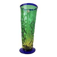 """1980's Blenko 14"""" Sculptured Vase  Green & Cobalt Blue Art Glass Extraordinary!"""