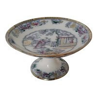 Ashworth Chinese Pattern  Polychrome Stoneware Footed Compote