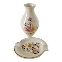 Zsolnay Hungary Gold Trimmed Hand-Painted Floral Vase and Ashtray