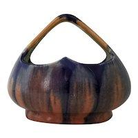 1920's  Thulin Belgium Art Pottery Cobalt Blue Drip Glaze Basket #188