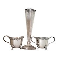 """Silverplate Grape Set - Paul Revere Trumpet Vase 9 1/2"""" & Benedict Cream & Sugar"""