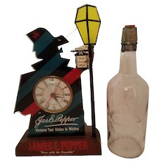 James E. Pepper Bourbon Lighted Clock and Julius Kessler Bourbon Bottle Set