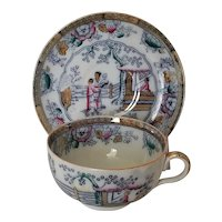 """Antique Ashworth Chinese Pattern  Polychrome Large 4 1/2"""" Cup & 6 1/2"""" Saucer"""