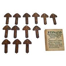 "Box of Stanley's Gummed Metal Monograms ""R"" 14pcs"