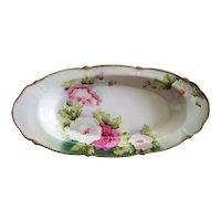 Signed Eckstädt Bavarian Porcelain Raised Flowers Celery Dish