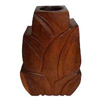 Hawaiiana Monkey Pod Wood Carved Vase