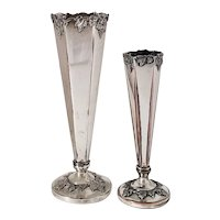 Pair Silver on Copper Sheffield  L.B.S. Co. Grape Pattern Trumpet Vases