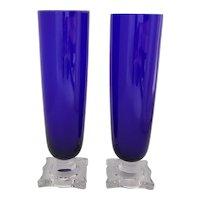 2 Cobalt Blue Pilsner Glasses Clear Square Stems